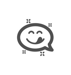Yummy smile icon emoticon with tongue sign vector