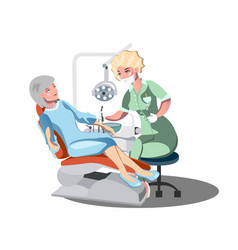 cute old lady at the dentist vector image vector image