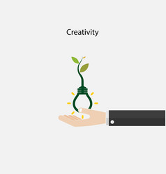 plant growing inside the light bulb and human vector image