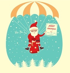 Santa claus flyiing on parachute in snow blue sky vector