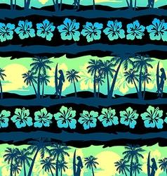 Tropical frangipani with green sunrise seamless vector image vector image