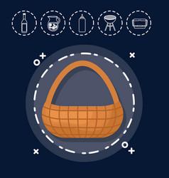 basket for family summer picnic vector image