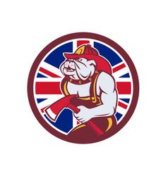 british bulldog fireman union jack flag icon vector image
