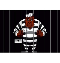 Cartoon prisoner behind bars in the prison vector image vector image