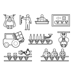 Industrial and manufacturing process icons set in vector image