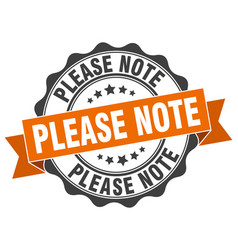 Please note stamp sign seal vector