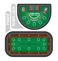 poker and blackjack tables vector image