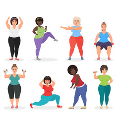 set of cute plus size curved women doing fitness vector image vector image
