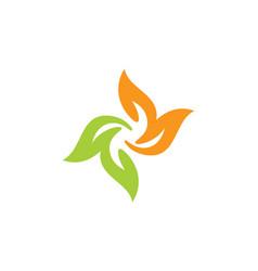 Circle colored leaf floral logo vector