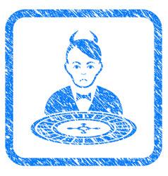 Devil roulette dealer framed stamp vector