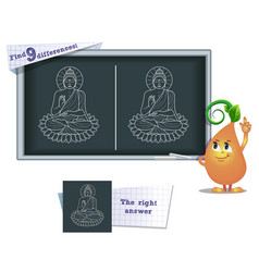 game find 9 differences buddha vector image vector image