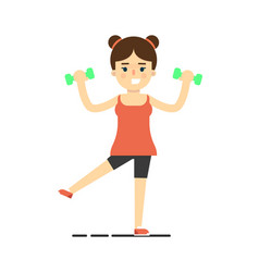 happy athletic girl doing exercise with dumbbells vector image vector image