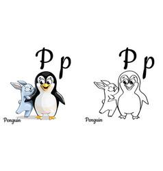 penguin alphabet letter p coloring page vector image