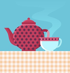tea pot and cup vector image vector image