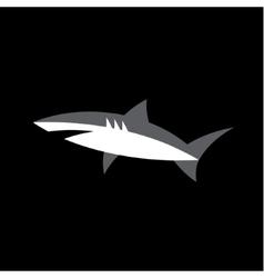 White Shark on a dark background Animal logo vector image