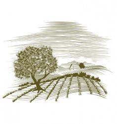 Woodcut farm scene vector