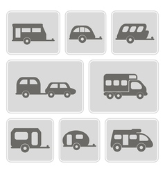 monochrome icons with trailers vector image vector image