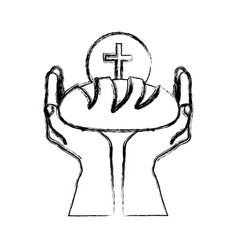 monochrome sketch silhouette of hands holding vector image vector image