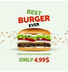 Premium burger ad template vector