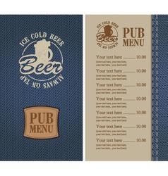 pub menu vector image
