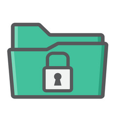 secure data folder colorful line icon security vector image vector image