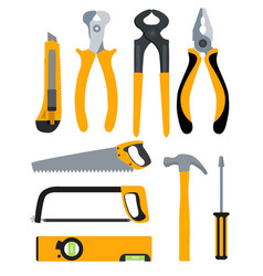 set of isolated icons building tools for repair vector image