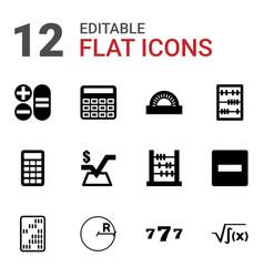 12 math icons vector image
