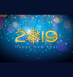 2019 happy new year with shiny gold vector