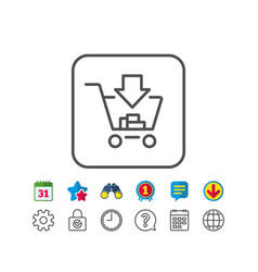 Add to shopping cart line icon online buying vector
