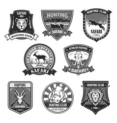 African safari animal hunting club badge set vector