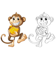 Animal outline for monkey with bananas vector