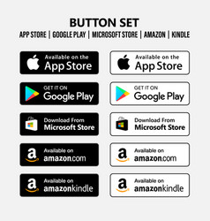 App store google play microsoft amazon button set vector