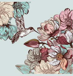background with magnolia flowers and birds vector image