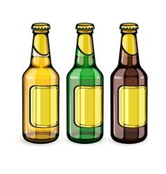 Beer bottles with empty labels vector
