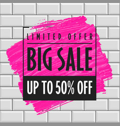 big sale banner template brick wall vector image