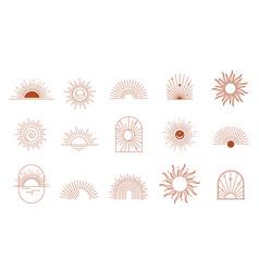 Bohemian linear logos icons and symbols sun arc vector