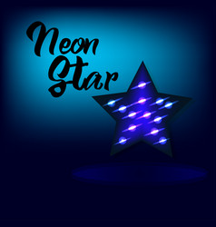 bright neon star for background in blue colour vector image