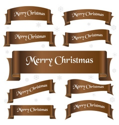 brown shiny color merry christmas slogan curved vector image