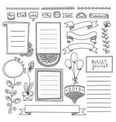 Bullet journal doodle collection vector