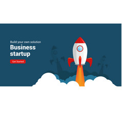 Business startup rocket launch flat vector