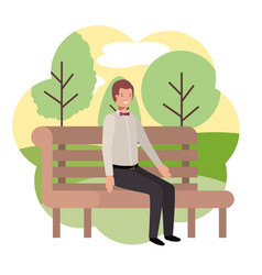 Businessman sitting in park chair with landscape vector