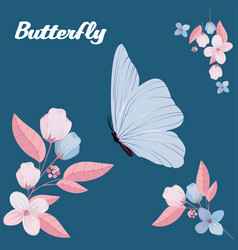 butterfly and flower blue background image vector image
