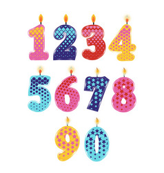 Candle numbers 0 to 9 vector