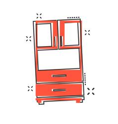 cartoon cupboard icon in comic style furniture vector image