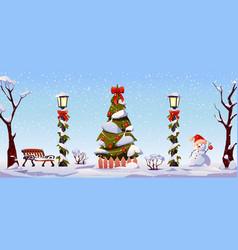 christmas landscape street decorations garlands vector image