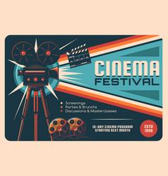 Cinema festival cinematography event retro poster vector