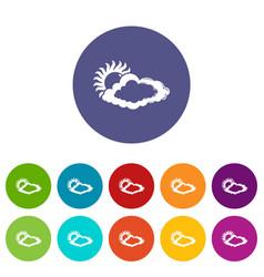 cloud sun icons set color vector image