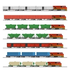 Collection of freight railway trains vector