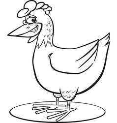 Coloring page of funny farm hen vector