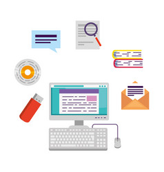 Computer desktop with elearning icons vector